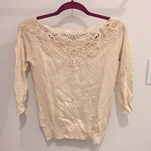 ⭐️ Forever 21 Cream Lace Sweater Size S